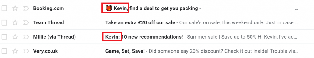email personalisation example